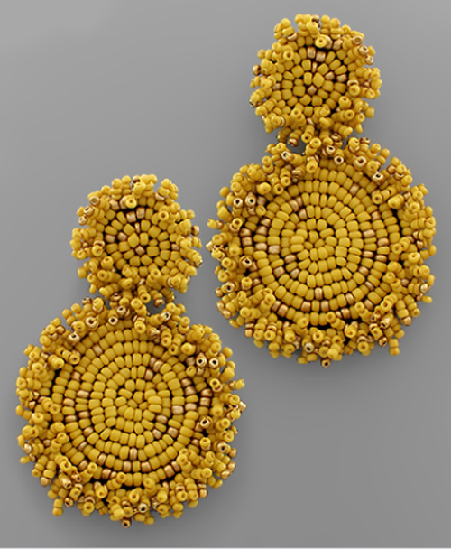 Summer Party Beaded Earring in Goldenrod