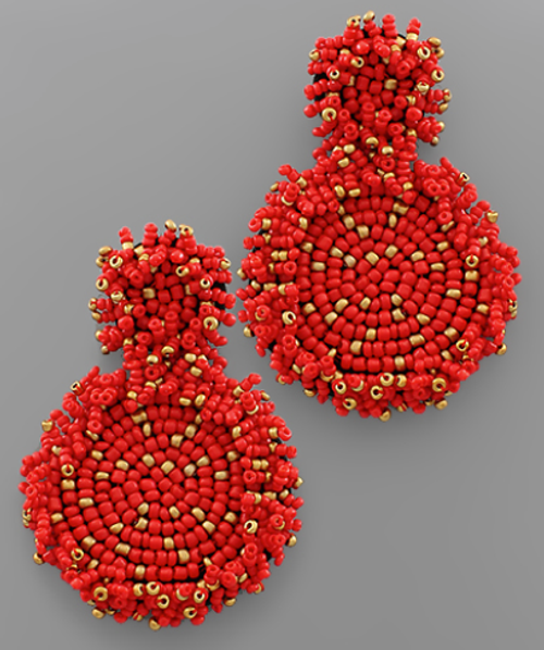 Summer Party Beaded Earring in Red