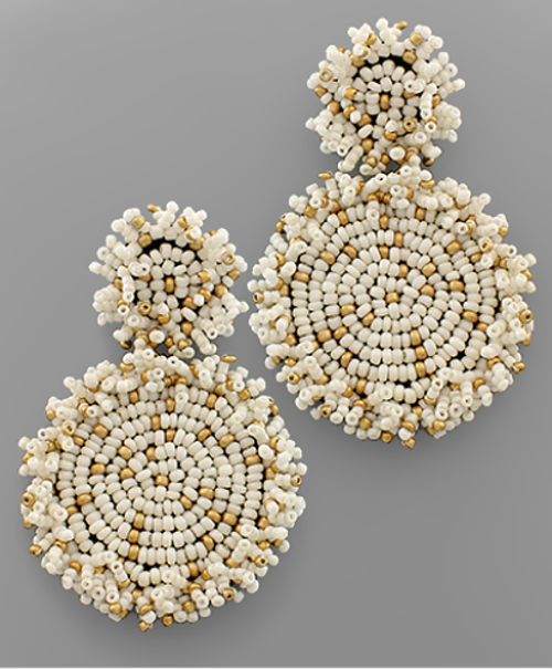 Summer Party Beaded Earring in White