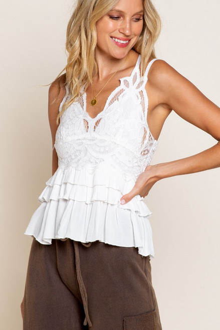 Sweet & Flirty Ivory Lace Top