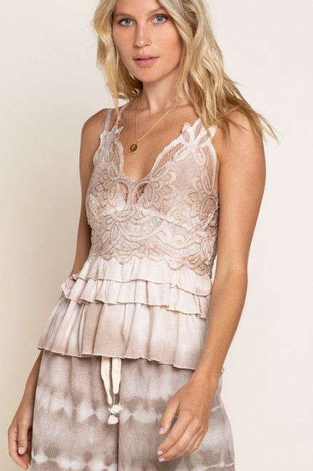 Sweet & Flirty Taupe Lace Top