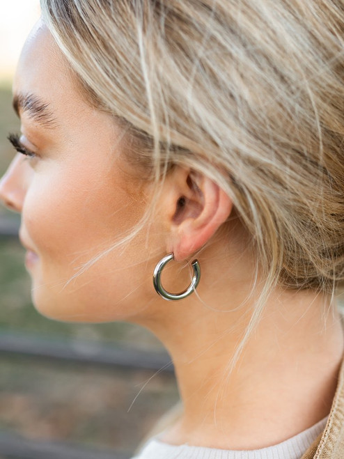 Medium Silver Chunky Hoops