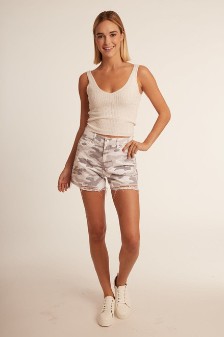 High Rise Distressed Camo Shorts