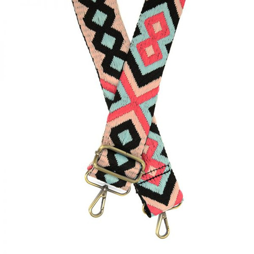 Pink Turq Geo Embroidered Guitar Purse Strap