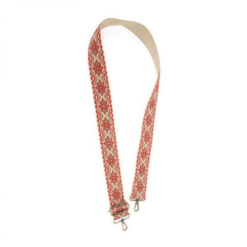 Red Khaki Embroidered Guitar Purse Strap
