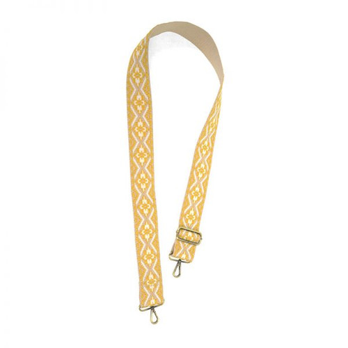 Yellow Embroidered Guitar Purse Strap
