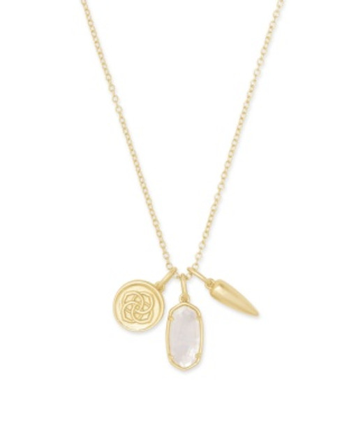 Dira Coin Gold Mother Of Pearl Charm Necklace