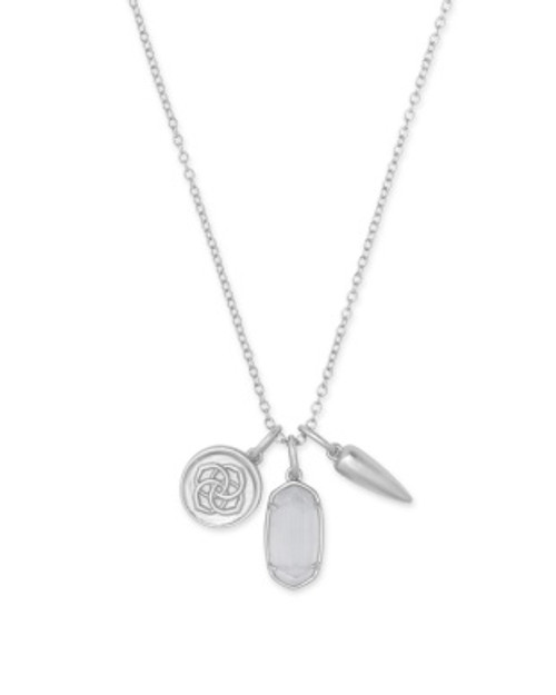 Dira Coin Silver Slate Charm Necklace