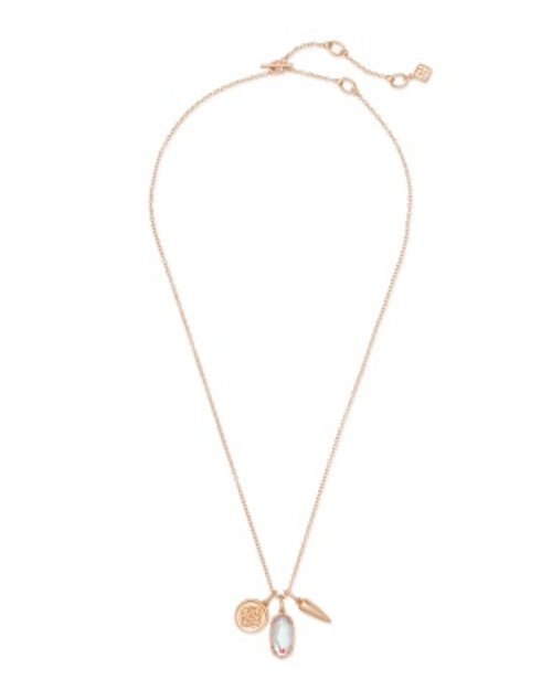 Dira Coin Rose Gold Dichroic Glass Charm Necklace