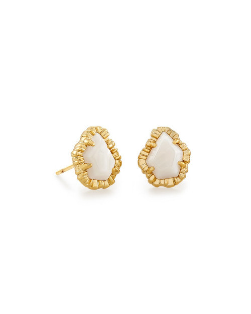 Tessa Gold Small Stud Earrings In White Mussel