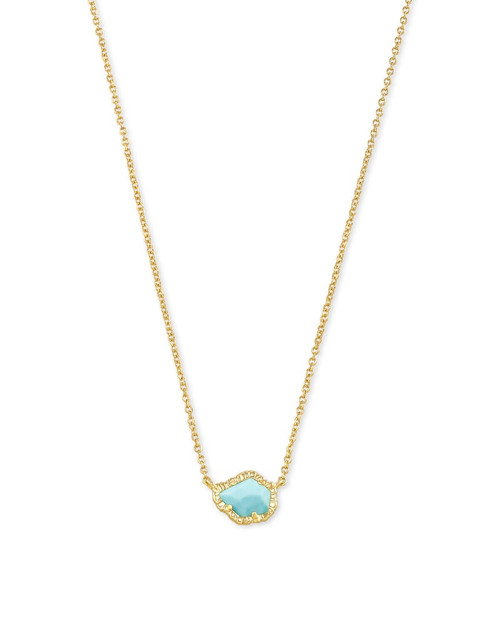 Tessa Gold Small Pendant Necklace In Light Blue Magnesite