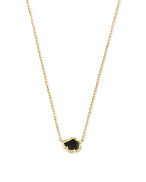 Tessa Gold Small Pendant Necklace In Black Obsidian