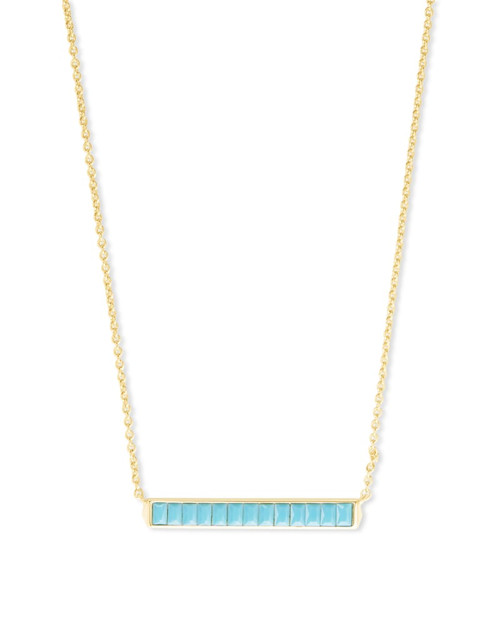 Jack Gold Short Pendant Necklace In Turquoise Crystal