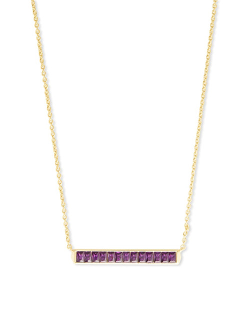 Jack Gold Short Pendant Necklace In Purple Crystal