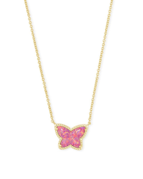 Lillia Butterfly Gold Pendant Necklace In Rose Pink Kyocera Opal