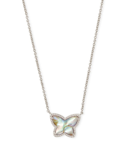 Lillia Butterfly Silver Pendant Necklace In Iridescent Abalone