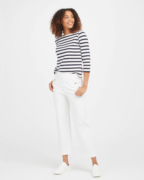 Stretch Twill  Cropped Wide Leg Pant