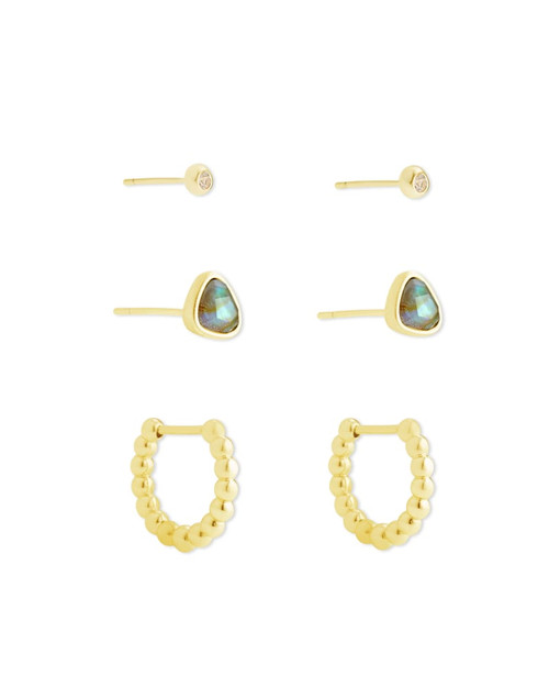 Ivy Gold Huggie & Stud Earrings In Iridescent Abalone