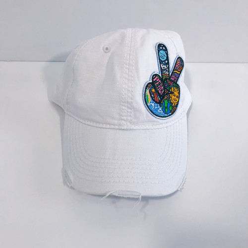 Peace Sign Patch White Ripstop Cap