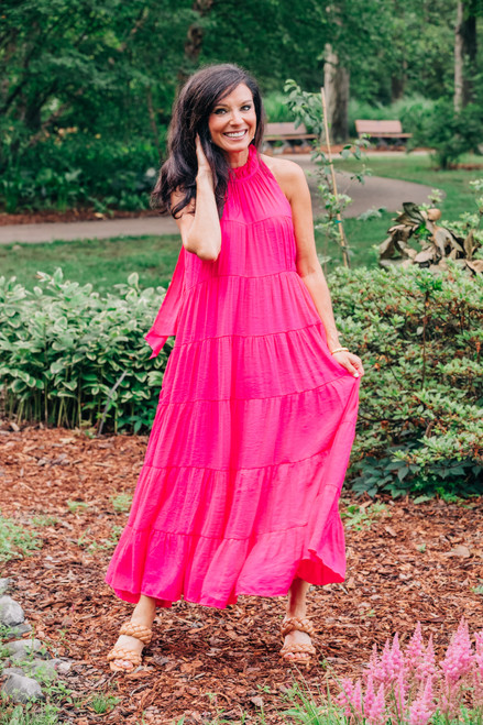 Lost in Your Eyes Fuchsia Dress