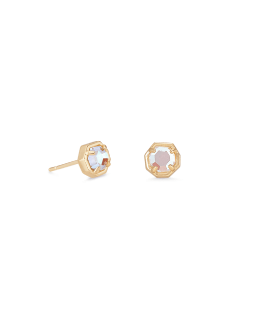 Nola Gold Stud Earrings In Dichroic Glass