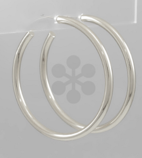 Here To There Silver Hoops