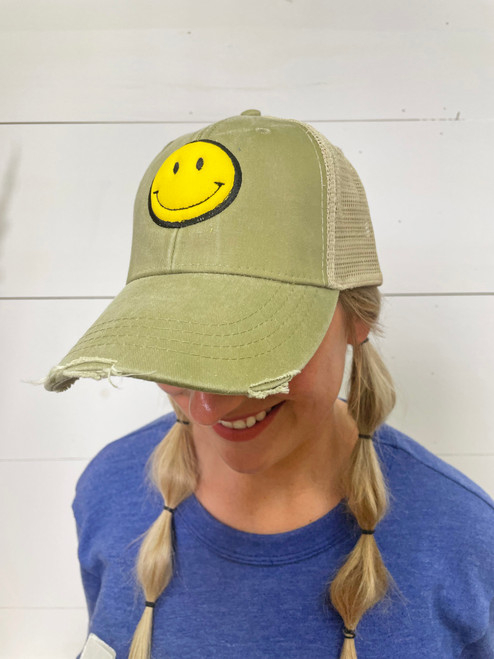 Be Happy Washed Sage Trucker Cap