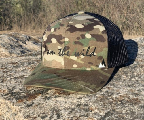 I Am The Wild Curved Bill Hat in Multi Cam and Black