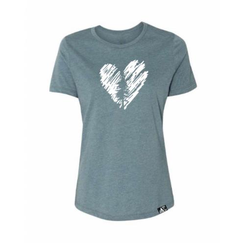 Women's Heart Tree Tee in Heather Slate