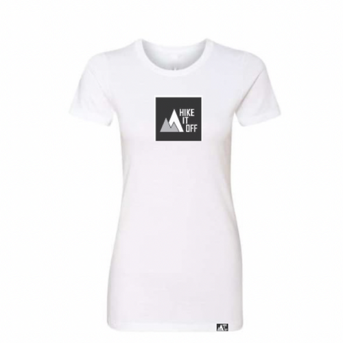 White t-shirt with large black Hike It Off logo.