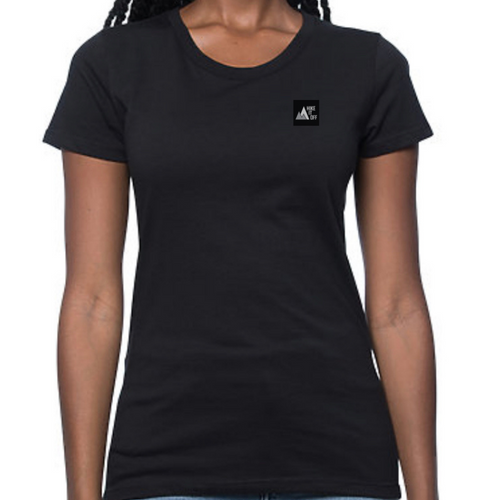 Black tee with small Hike It Off logo on chest.
