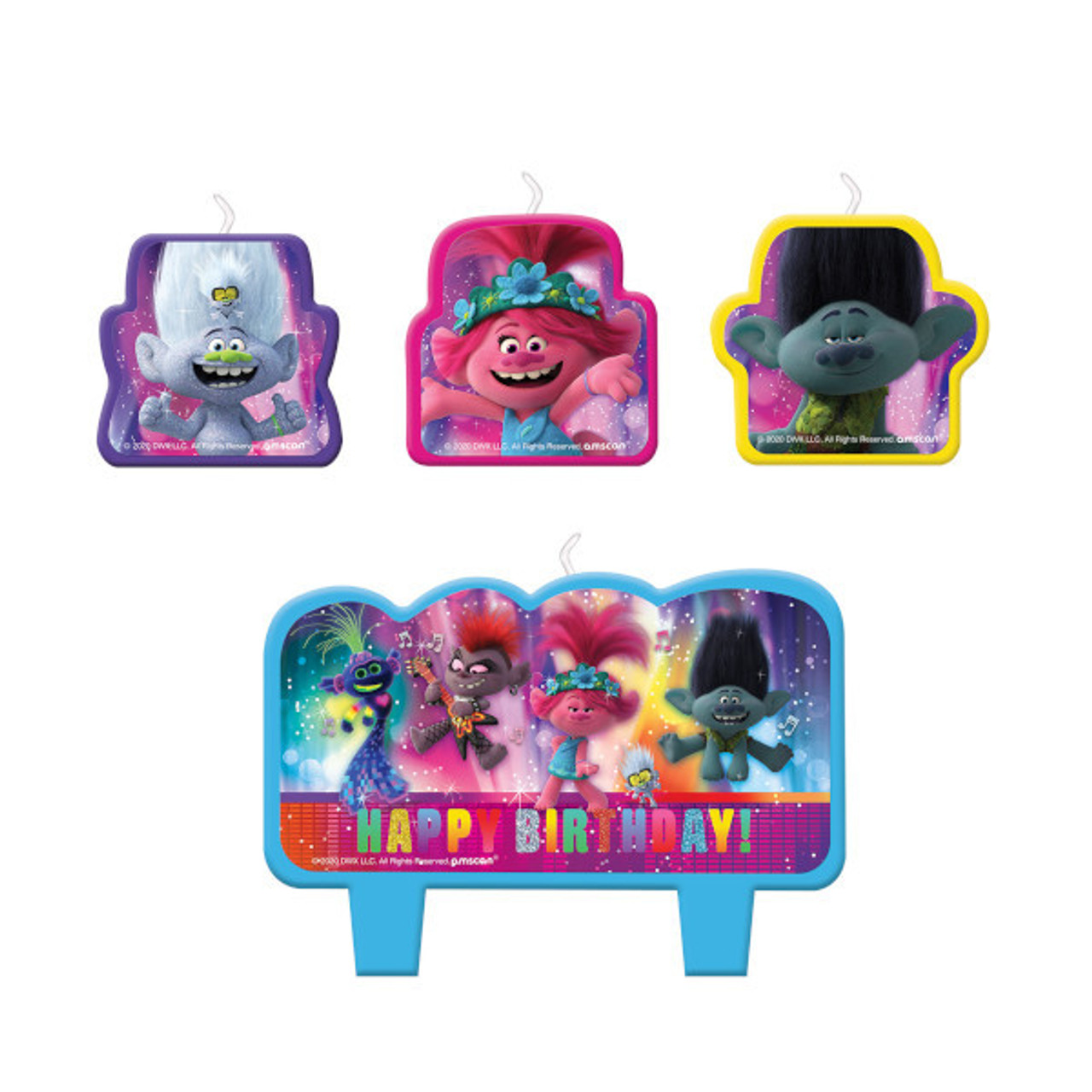 Trolls World Tour Birthday Candle Set Party Time Inc