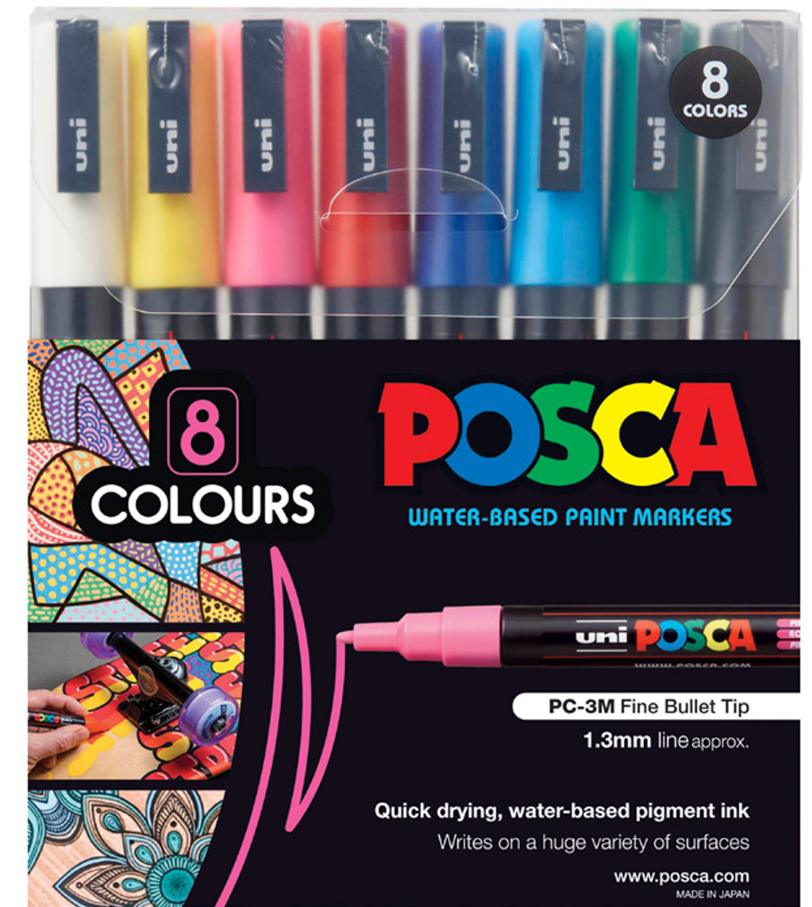8 Multi Colours Permanent Markers Stationary Plastic Glass Colours Pens Mix
