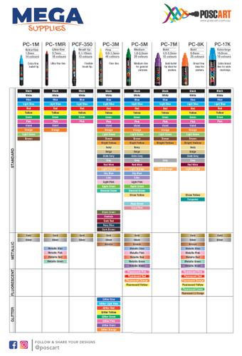 Posca's Latest (2019) Posca Colour Chart