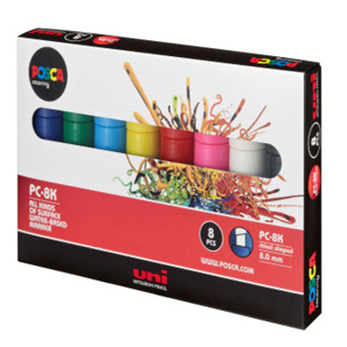 Sample pack of colour Posca PC8K in a cardboard case with 8 assorted colours