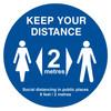 Keep Your Distance Circul Floor Sign