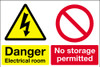 Danger electrical room No storage permitted sign