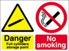 Danger full cylinders storage point No smoking sign