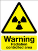 Warning radiation controlled area sign