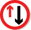 Priority to oncoming traffic sign