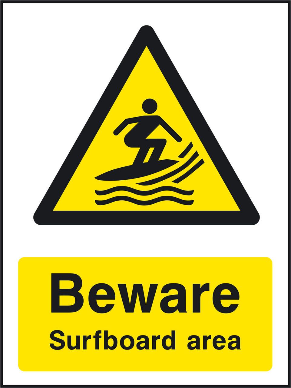 Beware surfboard area