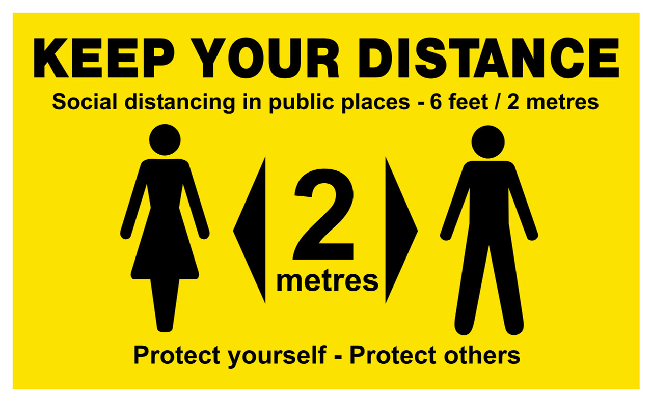 Keep Your Distance Floor Sign.