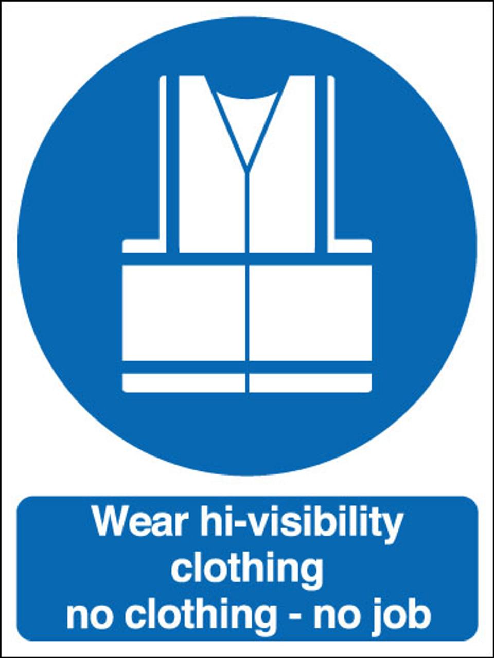 Wear hi-visibility clothing no clothing - no job correx sign