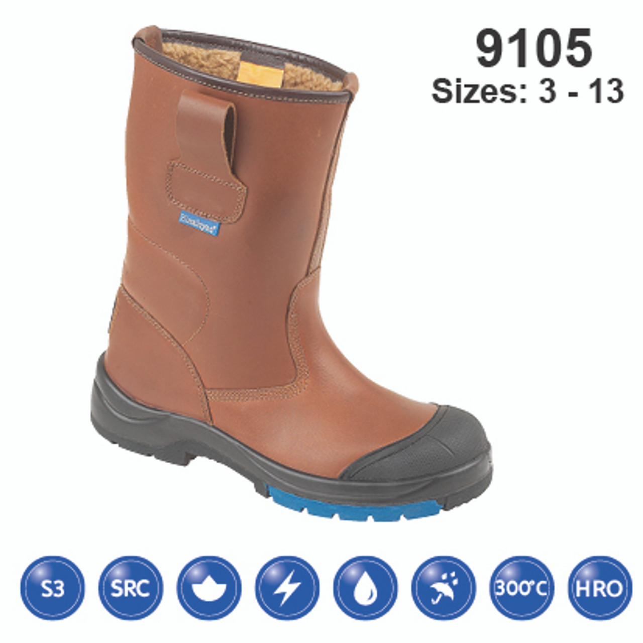 HIMALAYAN  Brown HyGrip Safety Warm Lined Rigger Steel Midsole and Scuff Cap
