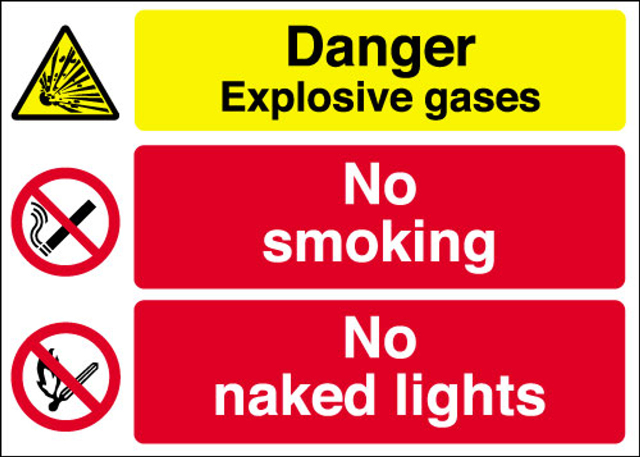 Danger Explosive gases  No smoking  No naked lights sign