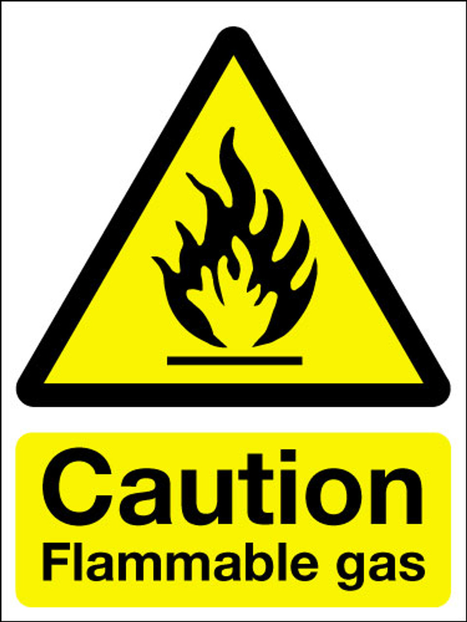 Caution flammable gas sign