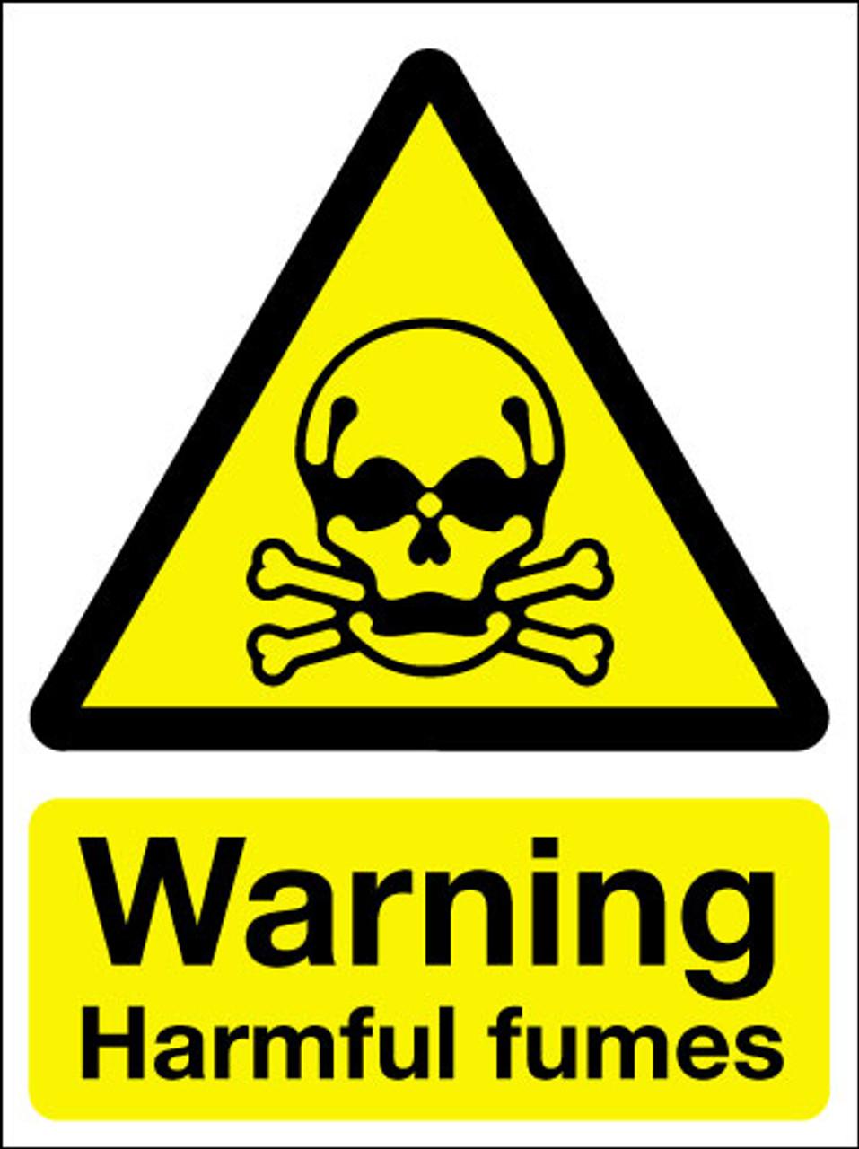 Warning harmful fumes sign