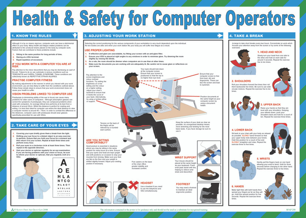 Health Amp Safety For Computer Operators Safety Poster