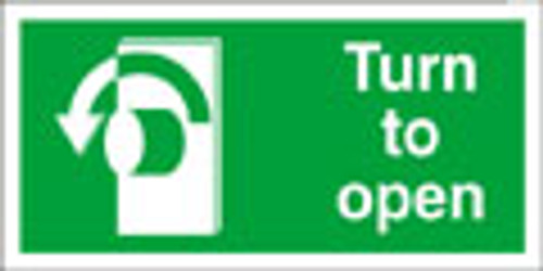 Turn left to open exit sign