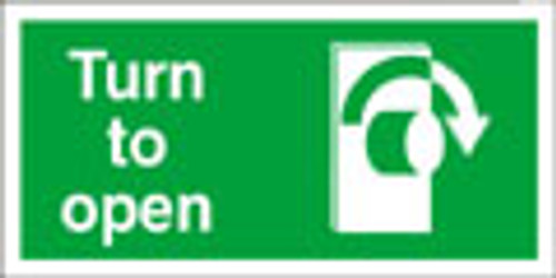 Turn to open right exit sign